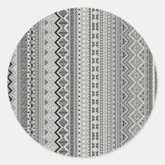 Pegatina Redonda Diseño azteca gris lindo de los modelos