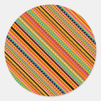 Pegatina Redonda Diseño azteca nativo colorido lindo de los modelos