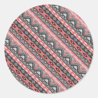 Pegatina Redonda Diseño azteca rojo gris lindo del modelo