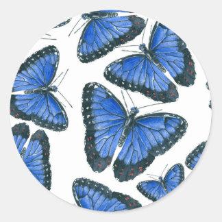 Pegatina Redonda Diseño azul del modelo de mariposa del morpho