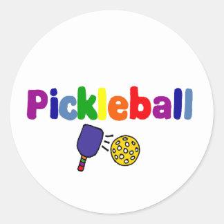 Pegatina Redonda Diseño colorido del arte de Pickleball