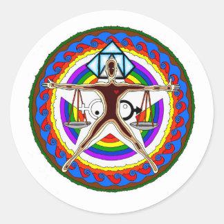 Pegatina Redonda Diseño del escudo