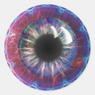 Pegatina Redonda Diseño del fractal del ojo de Tesla