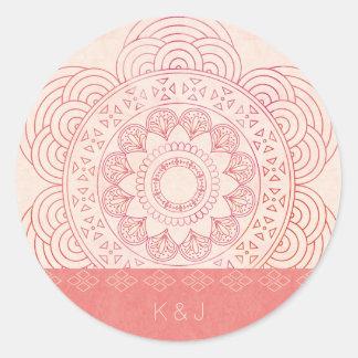 Pegatina Redonda Diseño elegante de la mandala de Boho de los