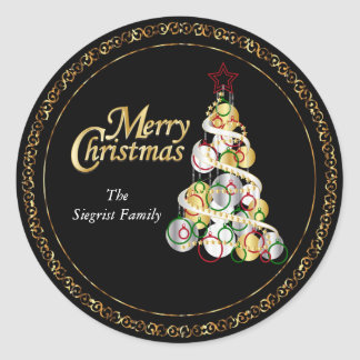 Pegatina Redonda Diseño elegante del árbol de navidad