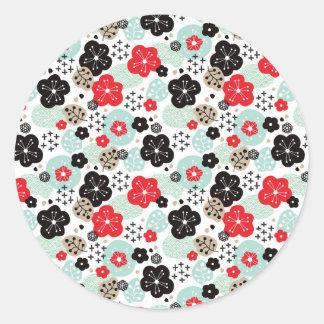 Pegatina Redonda Diseño japonés lindo de los modelos