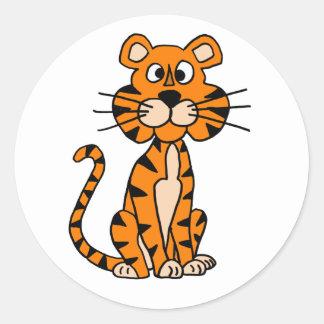 Pegatina Redonda Diseño maravilloso del tigre del dibujo animado
