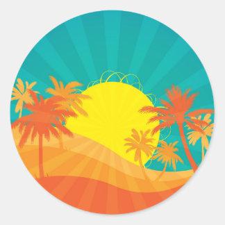 Pegatina Redonda Diseño retro tropical de la resaca de la playa de