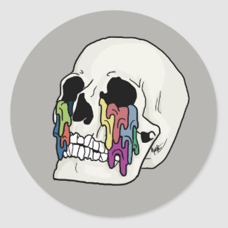 Pegatina Redonda Diseño titulado uno mismo del cráneo