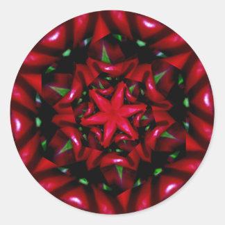 Pegatina Redonda diseño verde y rojo de la flor del kaleido