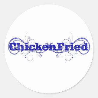 "Pegatina Redonda Diversión y ""pollo caprichoso fritos """