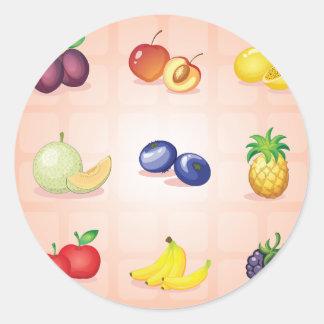 Pegatina Redonda Diversos pegatinas de las frutas