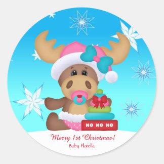 Pegatina Redonda Divertido lindo de los 1ros alces del navidad del