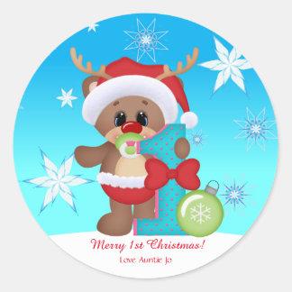 Pegatina Redonda Divertido lindo del 1r reno del navidad del bebé