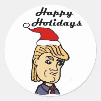 Pegatina Redonda Donald Trump divertido en dibujo animado del