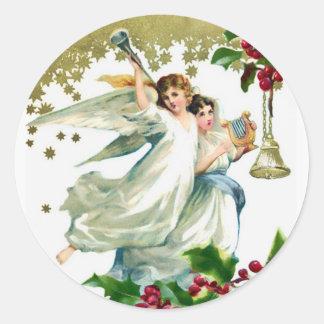 Pegatina Redonda Dos ángeles con el navidad de Belces