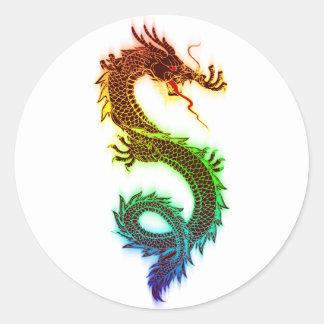 Pegatina Redonda Dragón