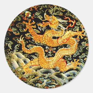 Pegatina Redonda Dragón de oro bordado antigüedad china del zodiaco
