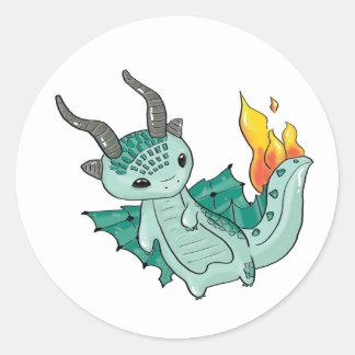 Pegatina Redonda Dragón de Skaarf del juego de la vanagloria