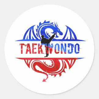 Pegatina Redonda Dragón el Taekwondo