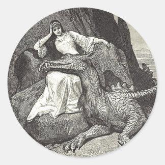 Pegatina Redonda Dragón y doncella del mascota