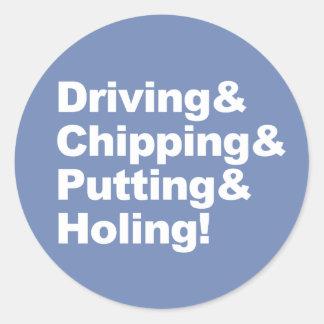 Pegatina Redonda Driving&Chipping&Putting&Holing (blanco)