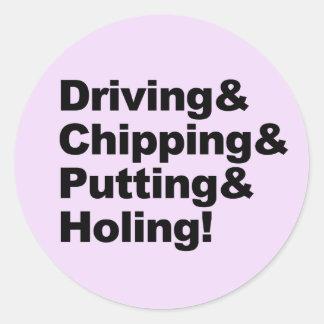 Pegatina Redonda Driving&Chipping&Putting&Holing (negro)