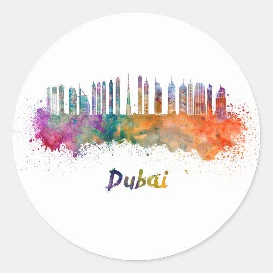 Pegatina Redonda Dubai V2 skyline in watercolor