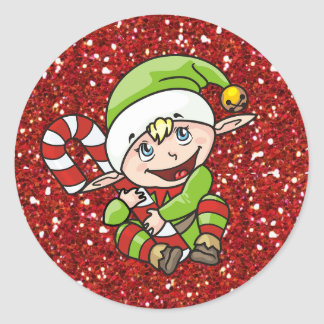 Pegatina Redonda Duende del navidad con los pegatinas del bastón de