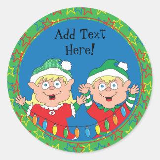 Pegatina Redonda Duendes de los pegatinas del navidad. Personalice
