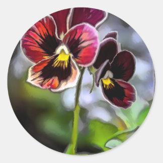 Pegatina Redonda Dúo de la flor del pensamiento de Burdeos