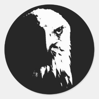 Pegatina Redonda Eagle calvo negro y blanco