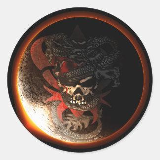 Pegatina Redonda Eclipse 2017 del cráneo del dragón pegatinas de 3