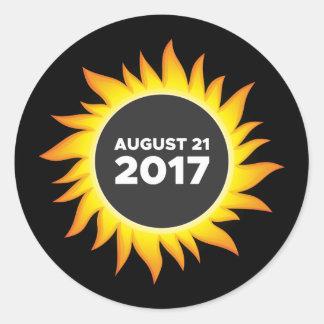 Pegatina Redonda Eclipse solar total - 08.21.2017