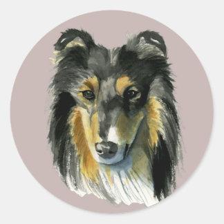 Pegatina Redonda Ejemplo de la acuarela del perro del collie