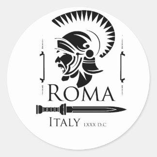 Pegatina Redonda Ejército romano - legionario con Gladio