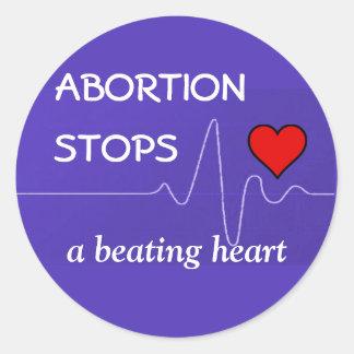 Pegatina Redonda El aborto para un corazón de derrota