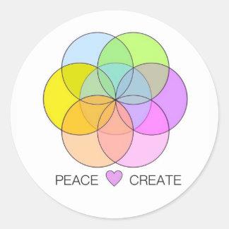 Pegatina Redonda El amor de la paz crea