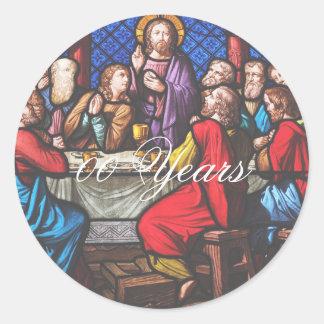 Pegatina Redonda El aniversario de la ordenación del sacerdote