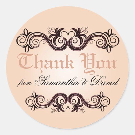 Pegatina Redonda El Arabesque le agradece (se ruboriza el rosa)