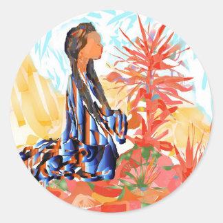 Pegatina Redonda El árbol de donante una rogación del chica del