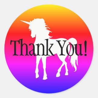 Pegatina Redonda El arco iris Ombre del unicornio le agradece