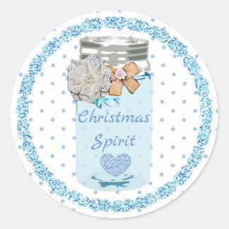 Pegatina Redonda El azul de alcohol del navidad puntea a los