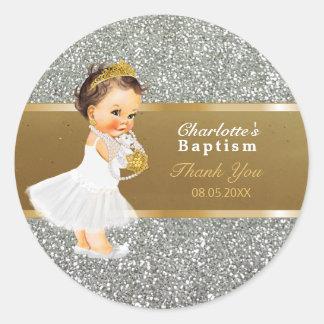 Pegatina Redonda El bautismo de la niña le agradece favorecer la