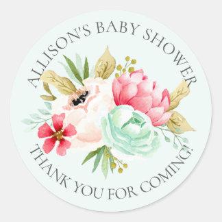 Pegatina Redonda El bebé floral de los Peonies le agradece regar al