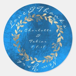 Pegatina Redonda El boda del chamán del azul de cobalto agradece