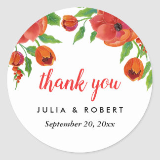 Pegatina Redonda El boda floral de los Peonies rojos le agradece