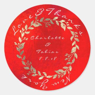 Pegatina Redonda El boda rojo vivo del chamán del oro agradece