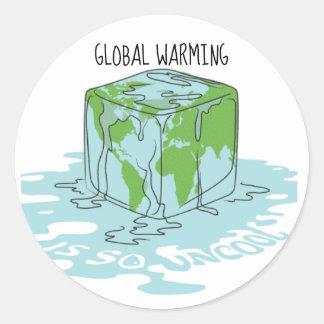 Pegatina Redonda El calentamiento del planeta es tan nada