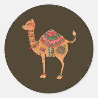 Pegatina Redonda El camello étnico